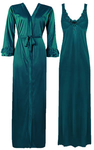 Color: Teal 2 Piece Satin Nighty and Robe With Long Sleeve Dressing Gown Size: XL