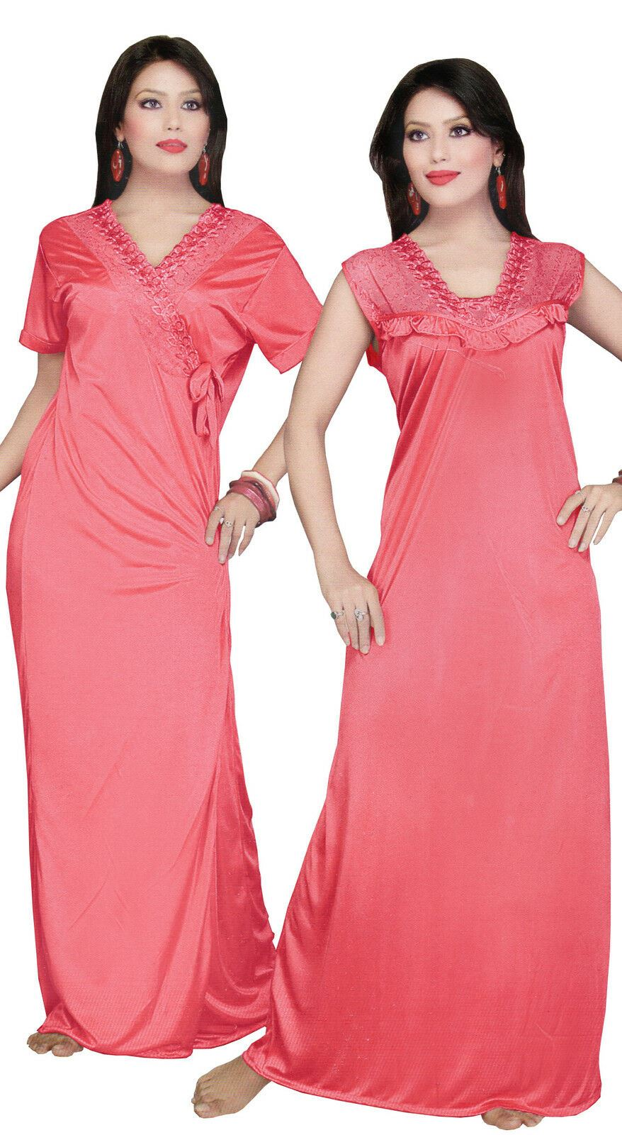 Women Long Nighty with Robe - Hautie Nightfashion