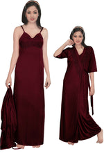 Load image into Gallery viewer, Women Strappy 2 Pcs Satin Long Nighty and Robe - Hautie Nightfashion