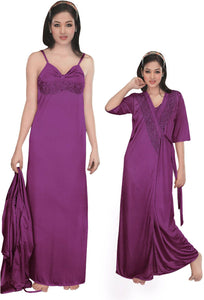 Women Strappy 2 Pcs Satin Long Nighty and Robe [colour]- Hautie UK, #Nightfashion | #Underfashion