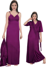 Load image into Gallery viewer, Women Strappy 2 Pcs Satin Long Nighty and Robe [colour]- Hautie UK, #Nightfashion | #Underfashion