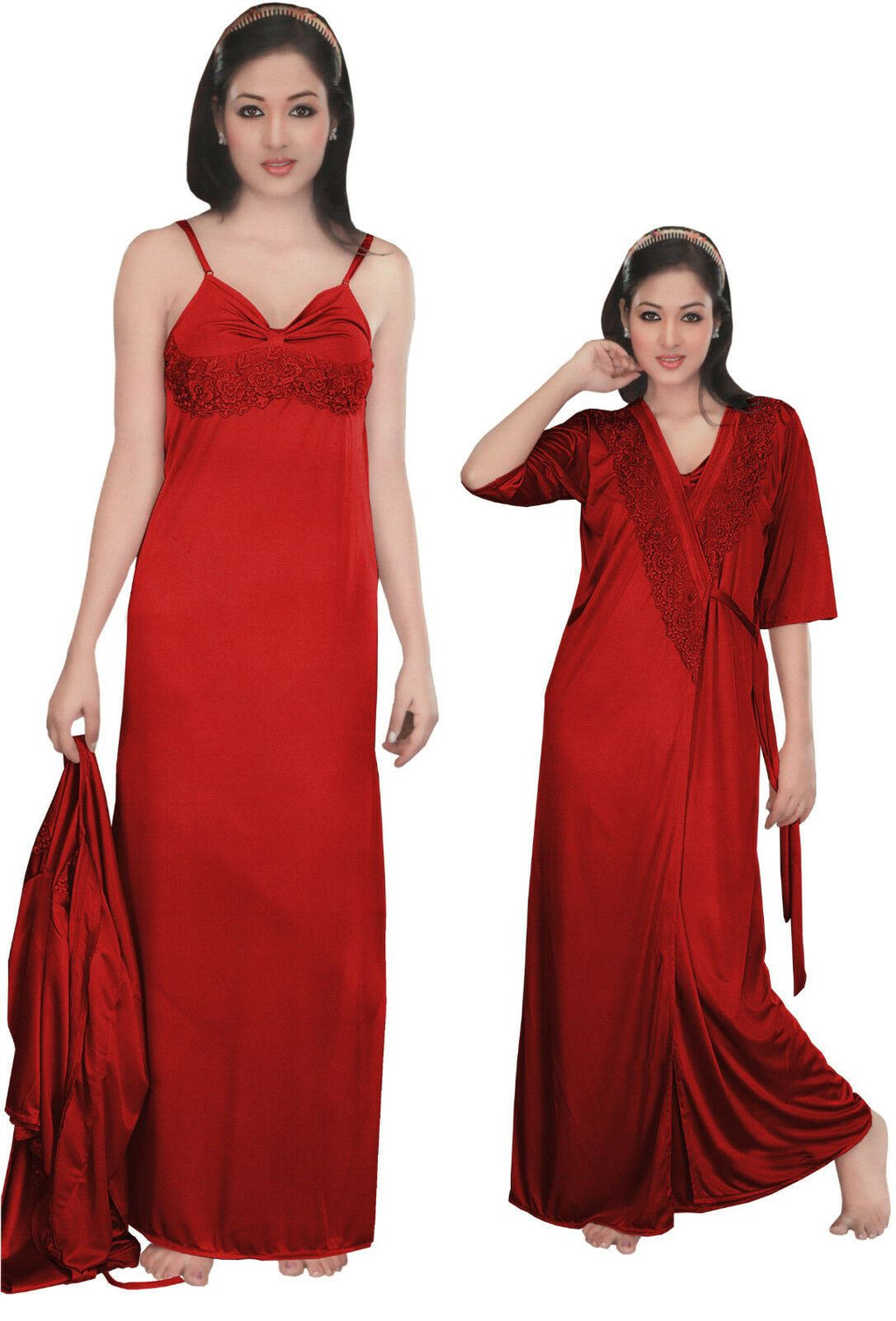Women Strappy 2 Pcs Satin Long Nighty and Robe - Hautie Nightfashion