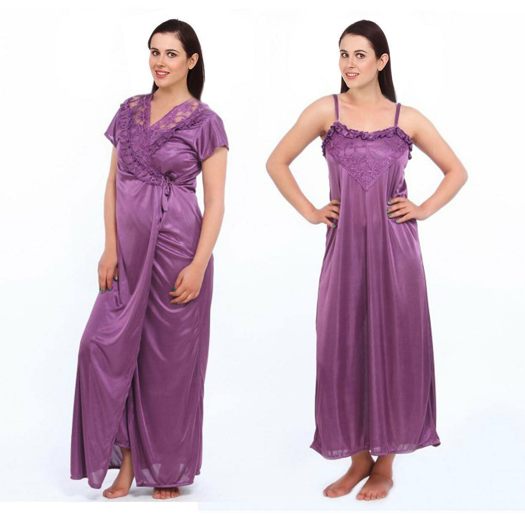 Satin 2 Pcs Strappy Long Nighty With Dressing Gown [colour]- Hautie UK, #Nightfashion | #Underfashion