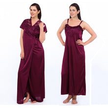 Load image into Gallery viewer, Satin 2 Pcs Strappy Long Nighty With Dressing Gown [colour]- Hautie UK, #Nightfashion | #Underfashion
