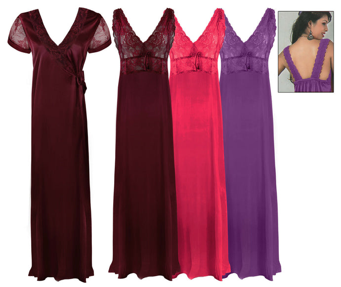 LADIES LONG CHEMISE NIGHT DRESS NIGHTDRESS SATIN NIGHTIE SLIP ROBE GOWN 8-16 - Hautie UK