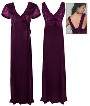 Load image into Gallery viewer, Satin 2 Pcs Nighty and Robe [colour]- Hautie UK, #Nightfashion | #Underfashion