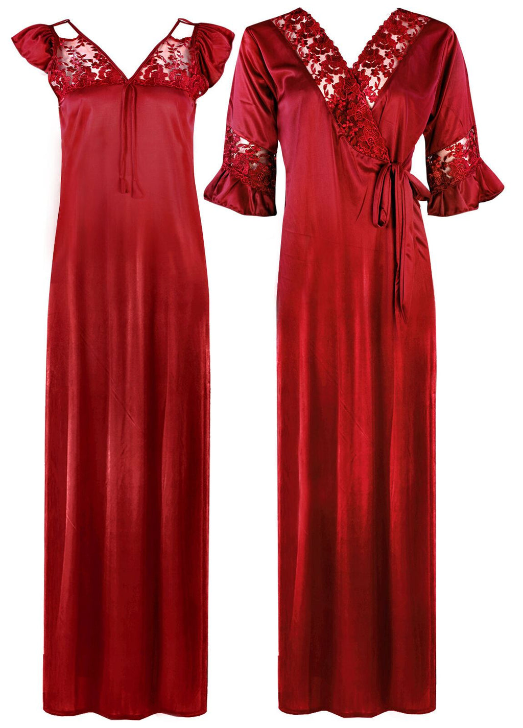 Satin Nighty and Robe Set - Hautie Nightfashion