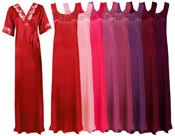 Women Plus Size 2 Pcs Satin Nightdress [colour]- Hautie UK, #Nightfashion | #Underfashion