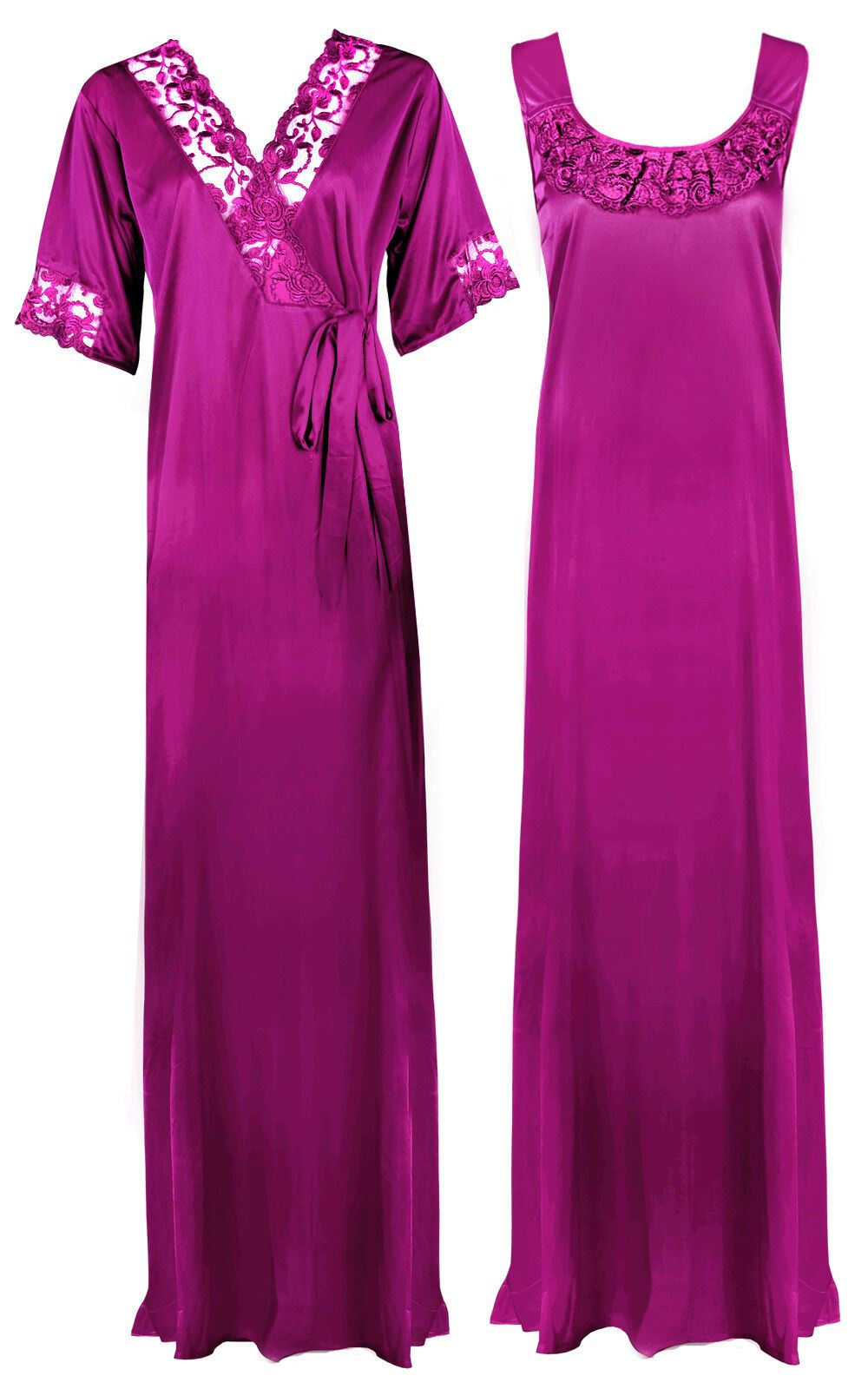 Women Plus Size 2 Pcs Satin Nightdress - XL. 2XL LIGHT PURPLE Hautie Nightfashion