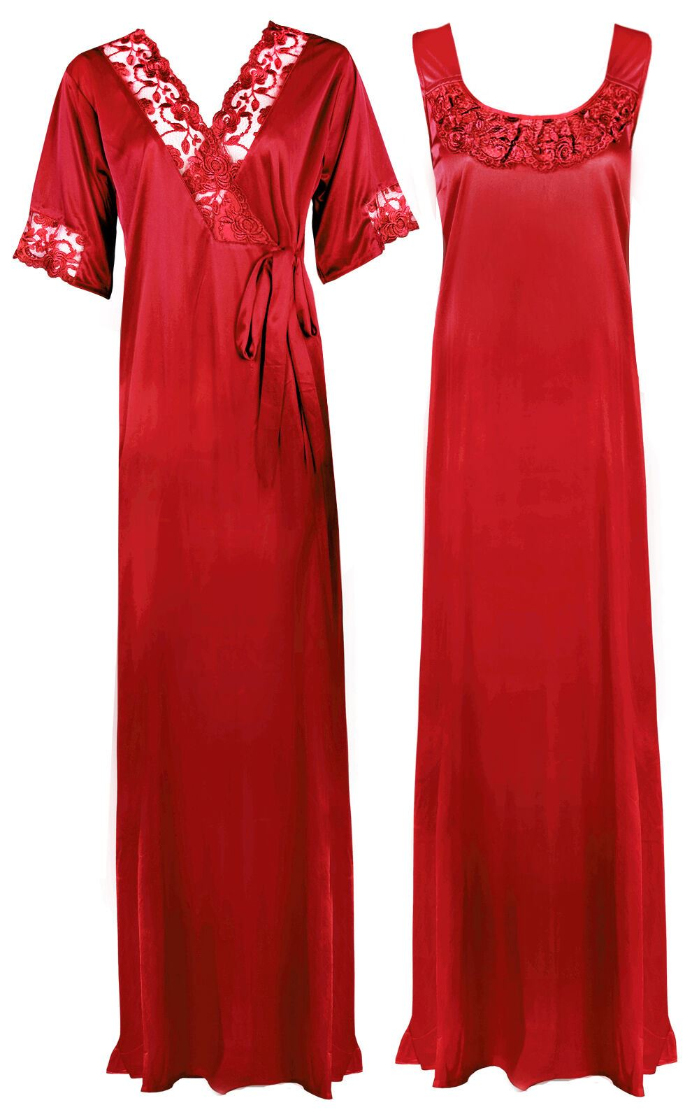 Women Plus Size 2 Pcs Satin Nightdress - XL. 2XL DEEP RED Hautie Nightfashion