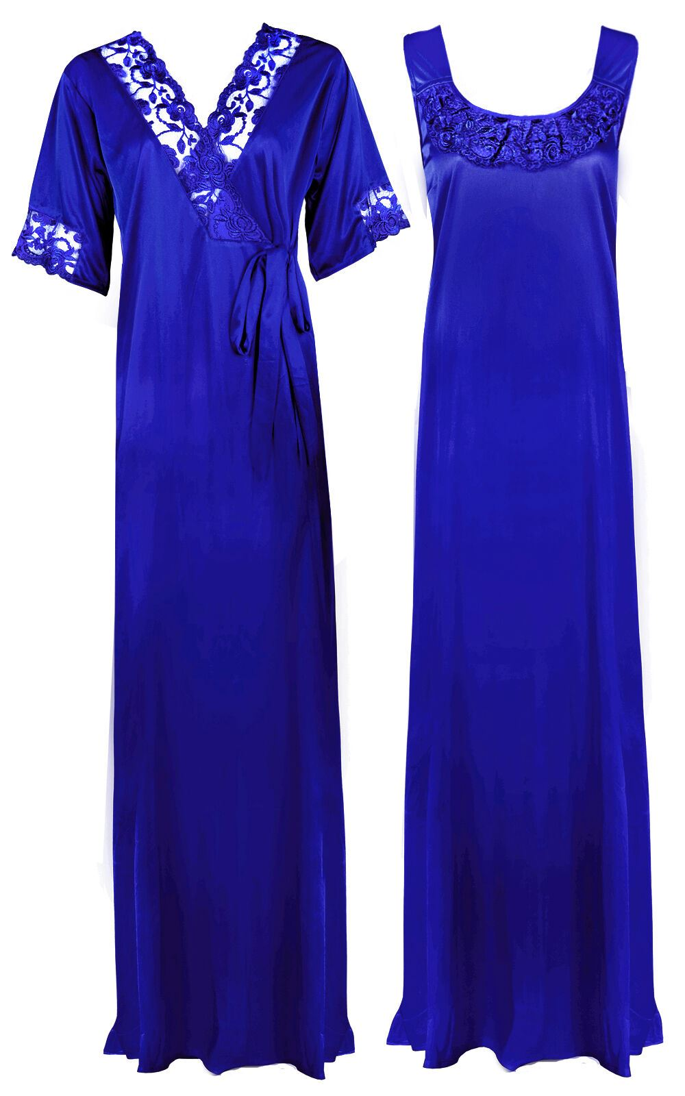 Women Plus Size 2 Pcs Satin Nightdress - XL. 2XL NAVY Hautie Nightfashion