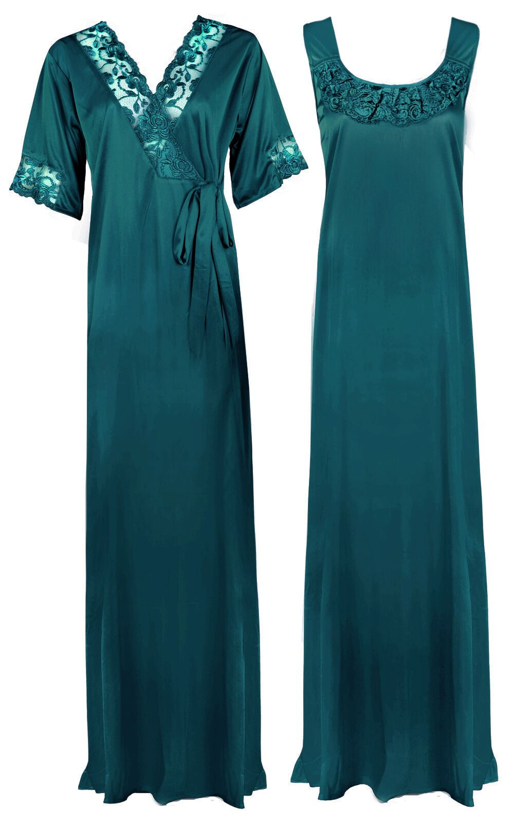 Women Plus Size 2 Pcs Satin Nightdress - XL. 2XL TEAL Hautie Nightfashion