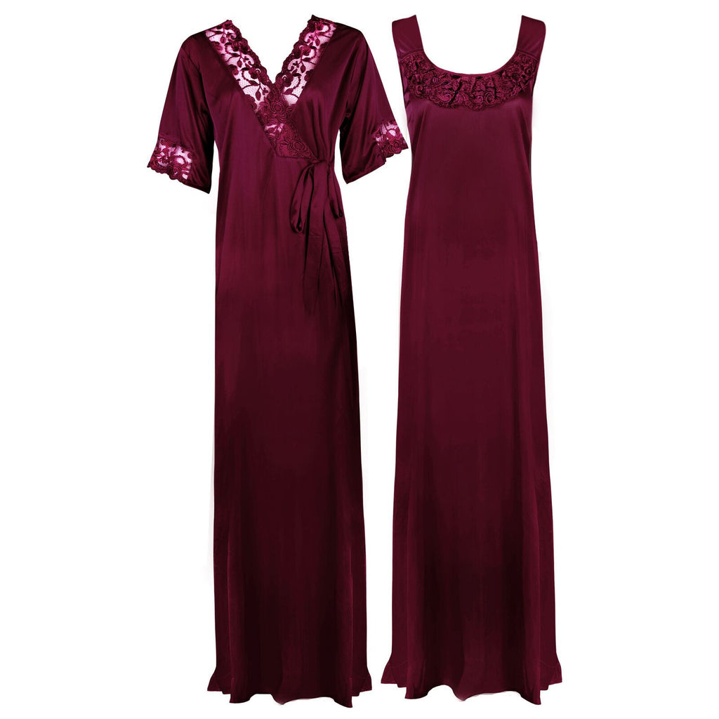 Women Plus Size 2 Pcs Satin Nightdress - XL. 2XL DARK WINE Hautie Nightfashion