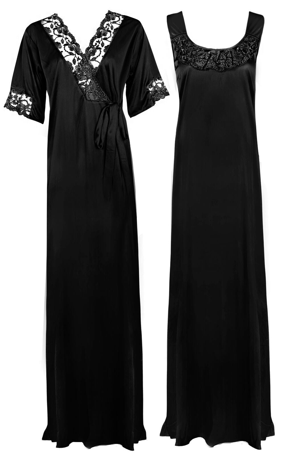 Women Plus Size 2 Pcs Satin Nightdress - XL. 2XL BLACK  Hautie Nightfashion