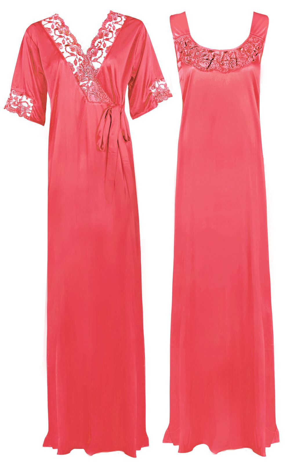 Women Plus Size 2 Pcs Satin Nightdress - XL. 2XL CORAL PINK Hautie Nightfashion