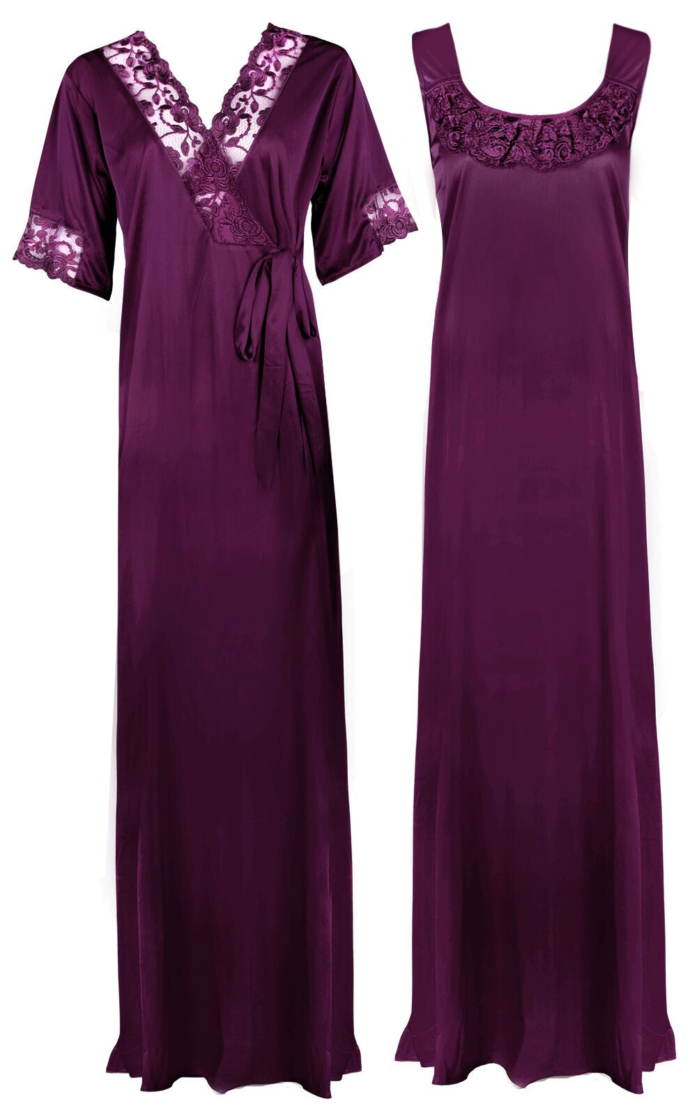 Women Plus Size 2 Pcs Satin Nightdress - XL. 2XL DARK PURPLE Hautie Nightfashion
