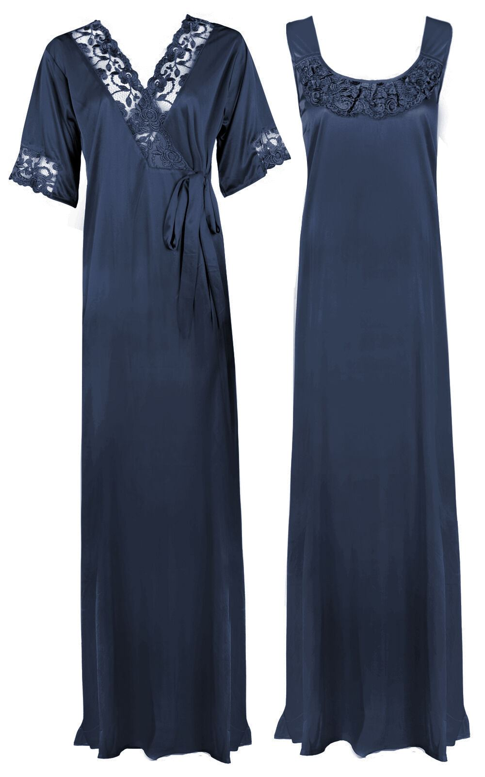 Women Plus Size 2 Pcs Satin Nightdress - XL. 2XL MIDNIGHT BLUE Hautie Nightfashion