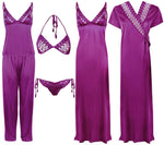 Load image into Gallery viewer, 6 Piece Satin Nightwear Set with Lingeries [colour]- Hautie UK, #Nightfashion | #Underfashion