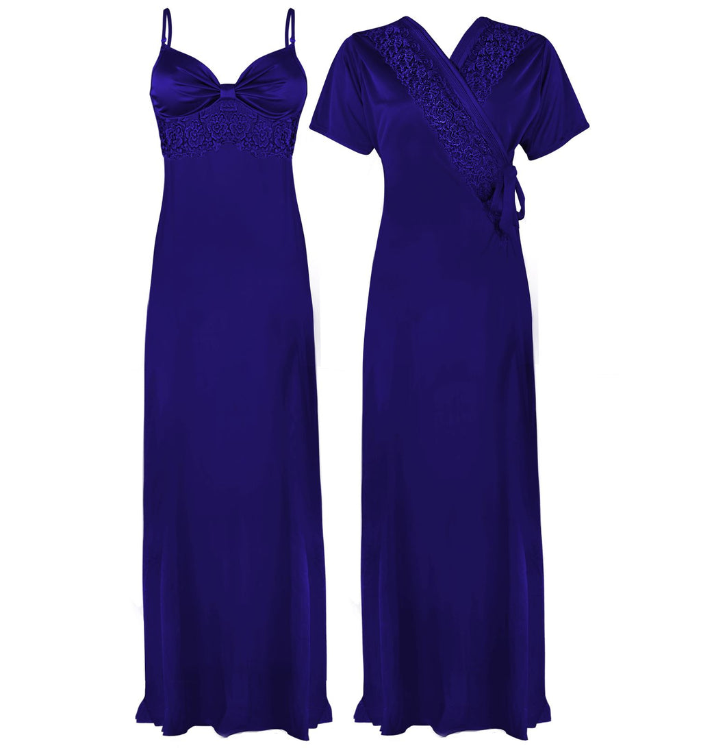 Colour: Royal Blue 2 Pcs Strappy Lace Long Nighty With Robe Size: One Size