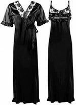 Load image into Gallery viewer, Satin Nighty And Robe 2 Pcs Nightdress - Hautie Nightfashion