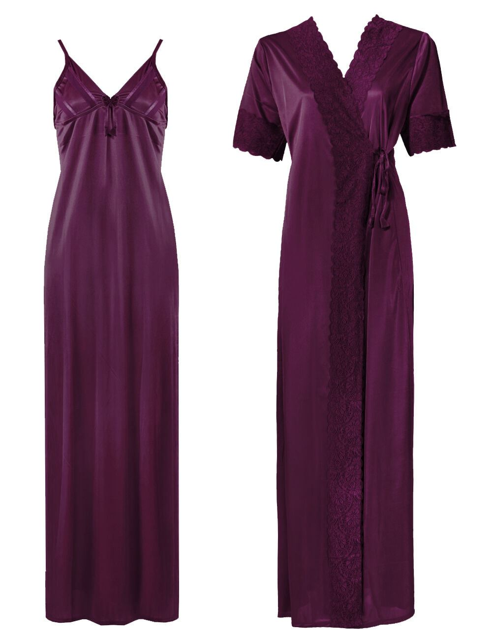 Satin Strappy Long Nighty With Dressing Gown / Robe [colour]- Hautie UK, #Nightfashion | #Underfashion
