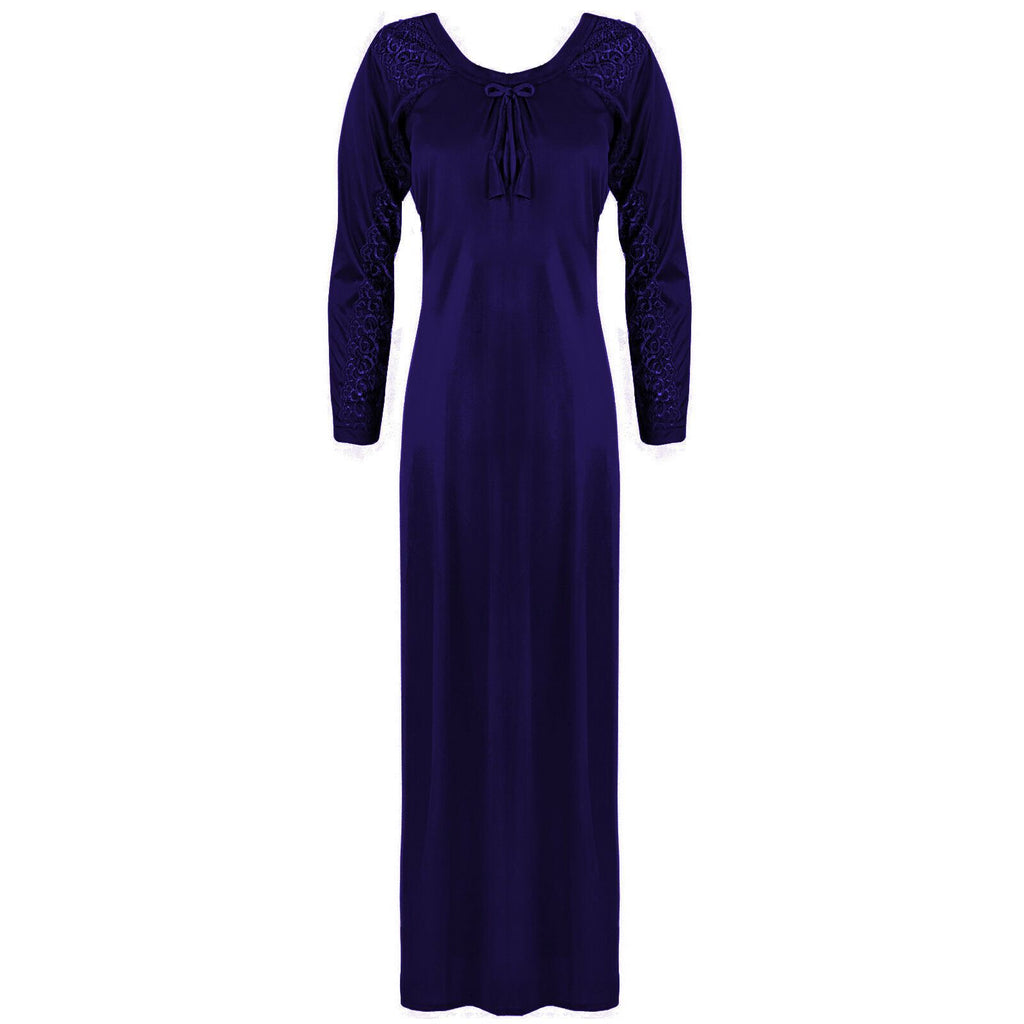 Satin Round Neck Full Sleeve Lace Nightdress -  L. XL. 2XL PURPLE  Hautie Nightfashion