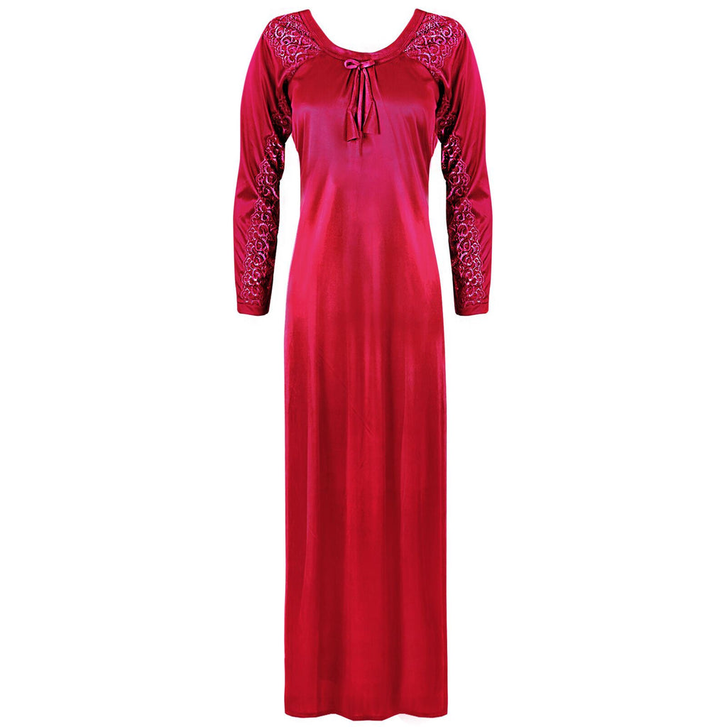 Satin Round Neck Full Sleeve Lace Nightdress -  L. XL. 2XL FUCHSIA Hautie Nightfashion