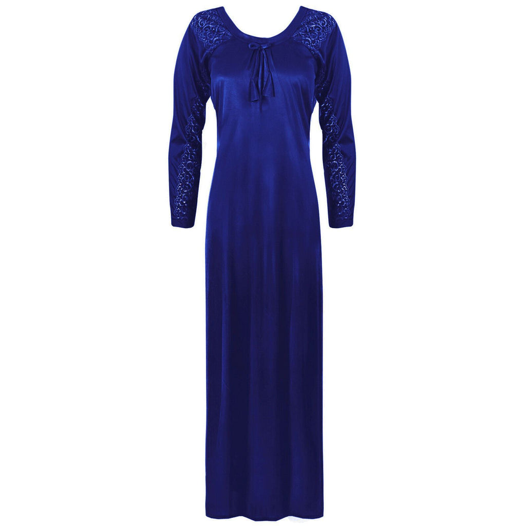Satin Round Neck Full Sleeve Lace Nightdress -  L. XL. 2XL NAVY Hautie Nightfashion