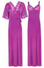Load image into Gallery viewer, Woman's Satin Nighty With Robe 2 Pcs Set [colour]- Hautie UK, #Nightfashion | #Underfashion