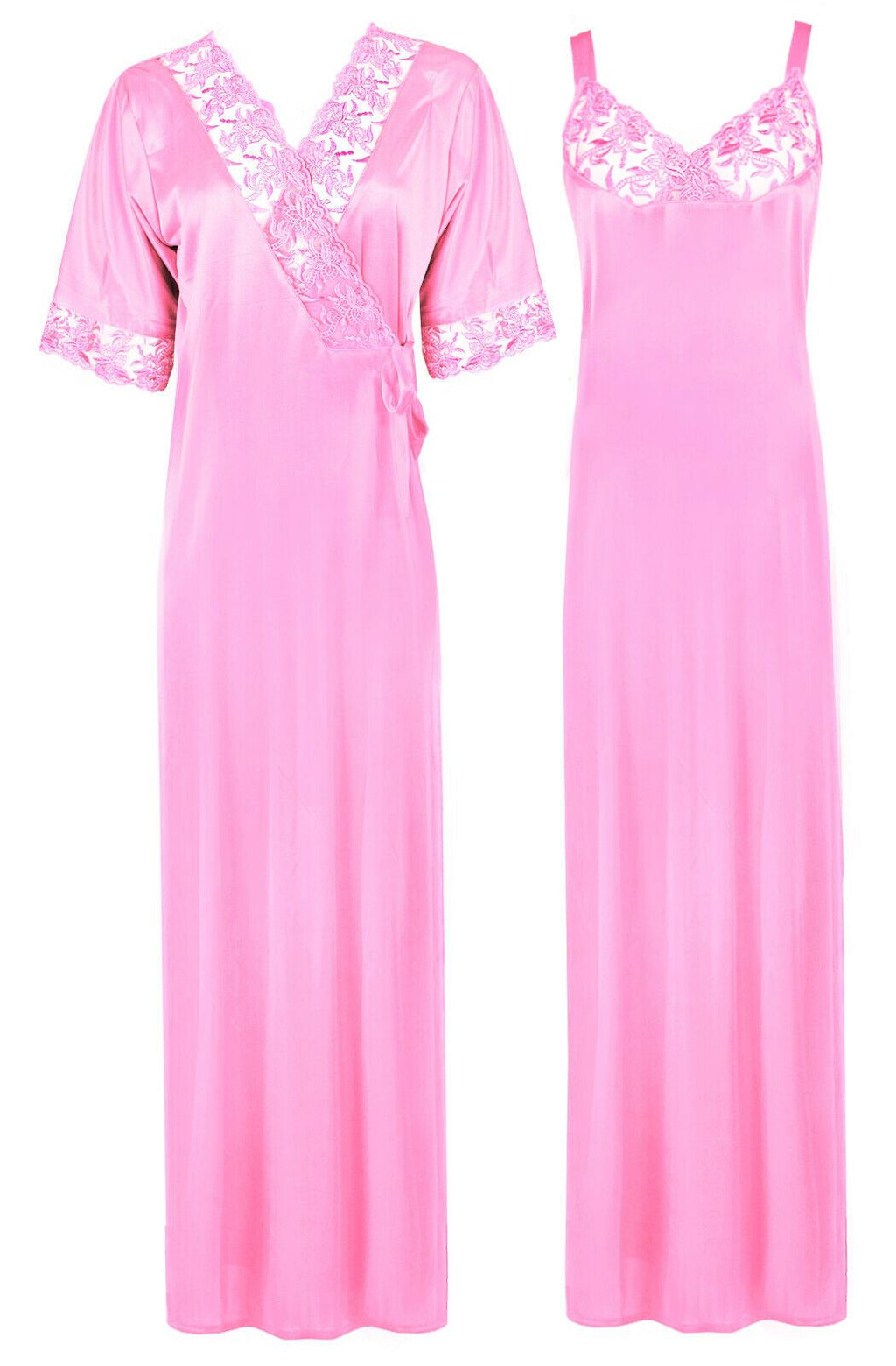 Woman's Satin Nighty With Robe 2 Pcs Set [colour]- Hautie UK, #Nightfashion | #Underfashion