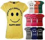 Load image into Gallery viewer, HAPPY SMILE Round Neck Top T-Shirt [colour]- Hautie UK, #Nightfashion | #Underfashion