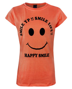 HAPPY SMILE Round Neck Top T-Shirt [colour]- Hautie UK, #Nightfashion | #Underfashion