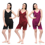 Load image into Gallery viewer, Color: Black, Deep Red, Purple, Wine 2 Pcs Short Pjs Pyjama Set Size: One Size: Regular (6-12)