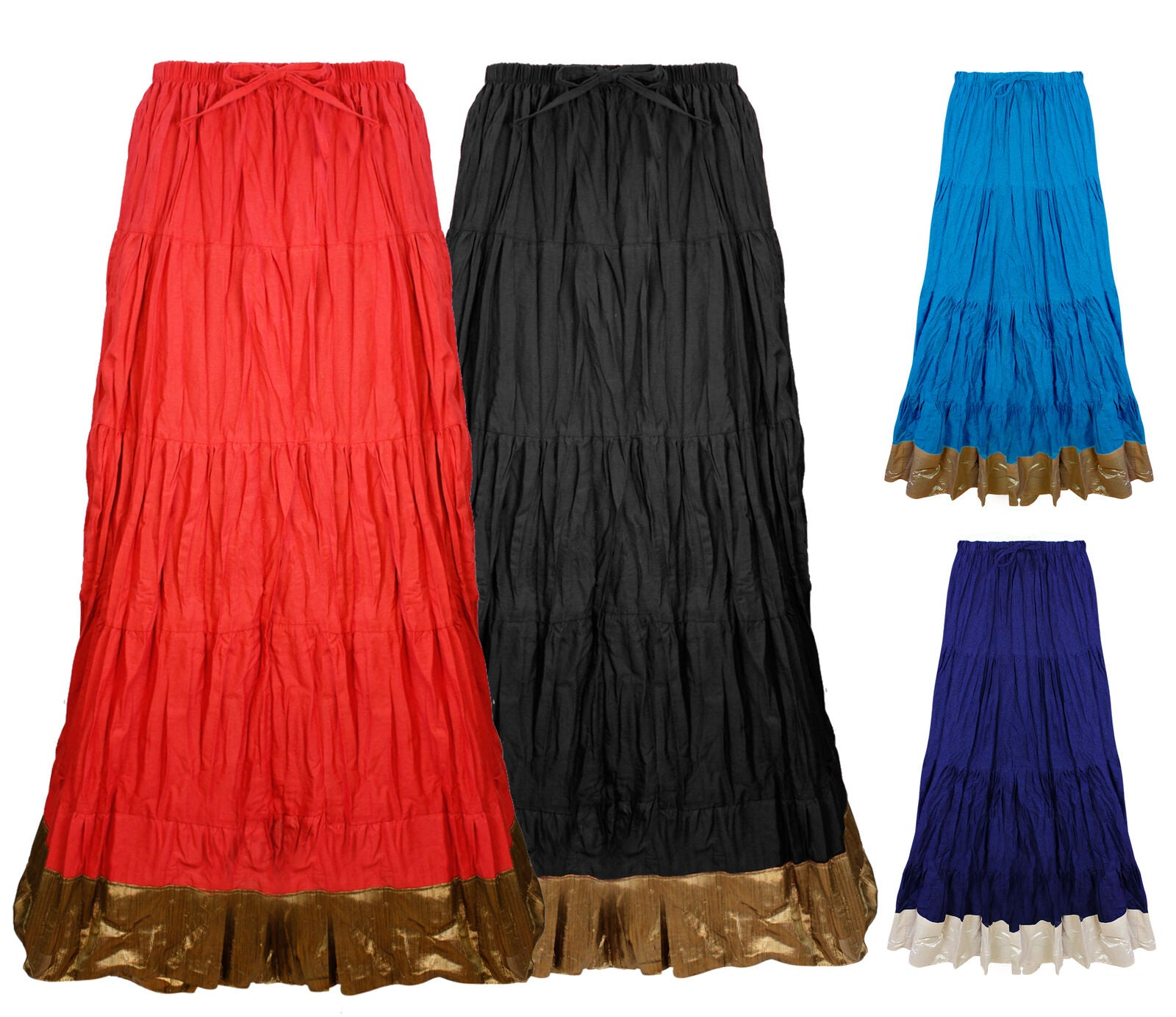 Color: Black, Navy, Red, Turquoise Cotton Long Maxi Skirt Size: One Size: Regular (8-16)