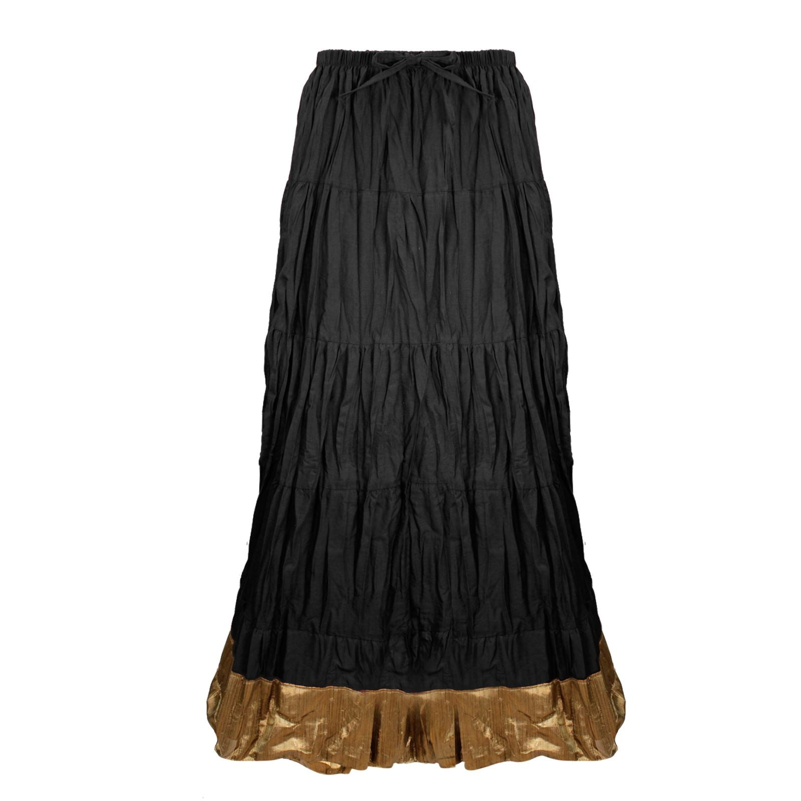 Color: Black Cotton Long Maxi Skirt Size: One Size: Regular (8-16)