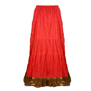 Color: Red Cotton Long Maxi Skirt Size: One Size: Regular (8-16)