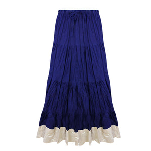 Color: Navy Cotton Long Maxi Skirt Size: One Size: Regular (8-16)