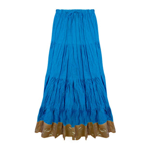 Color: Turquoise Cotton Long Maxi Skirt Size: One Size: Regular (8-16)