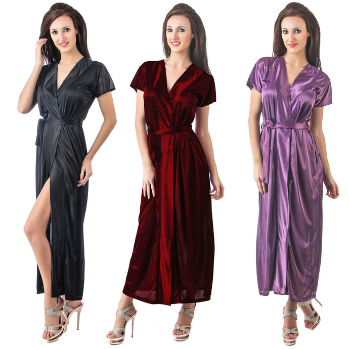 LADIES SATIN DRESSING GOWN LONG BATH ROBE WRAP WOMENS HOUSECOAT WITH BELT - Hautie UK