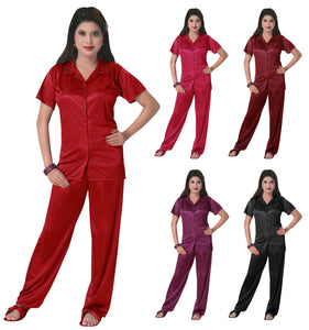 Color: Baby Pink, Black, Cerise, Coral Pink, Deep Red, Navy, Purple, Red, Rose, Rose Pink, Royal Blue, Wine, Dark Purple 3 Pcs Satin Pyjama Set with Bedroom Slippers Size: One Size