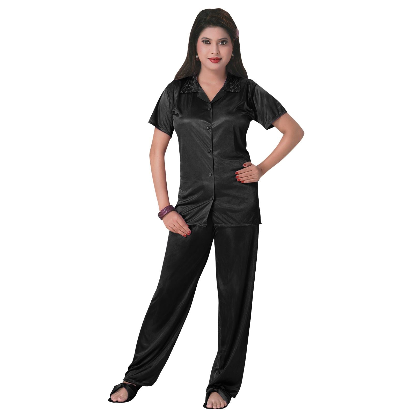 Color: Black 3 Pcs Satin Pyjama Set with Bedroom Slippers Size: One Size