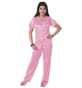 Color: Rose 3 Pcs Satin Pyjama Set with Bedroom Slippers Size: One Size