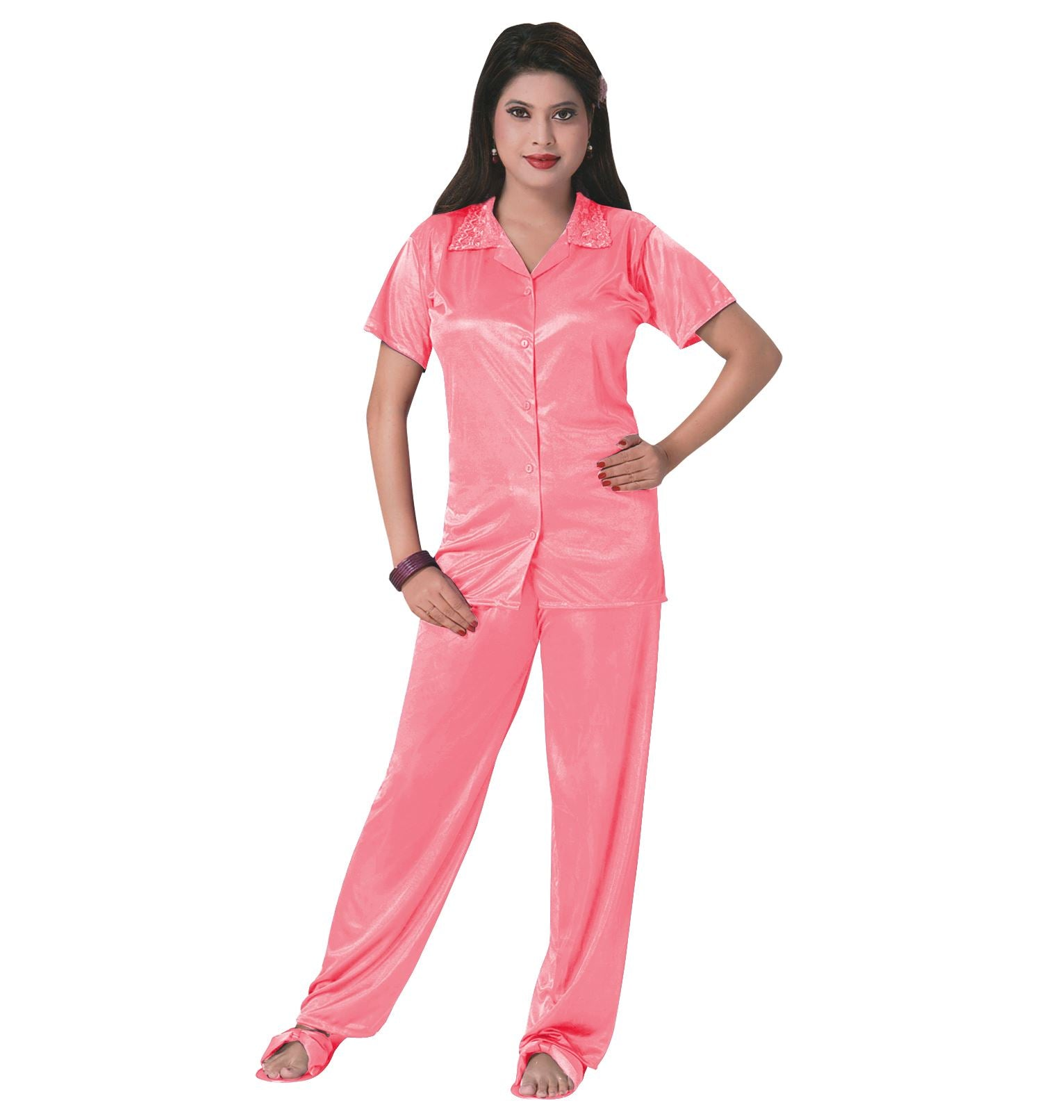 Color: Coral Pink 3 Pcs Satin Pyjama Set with Bedroom Slippers Size: One Size