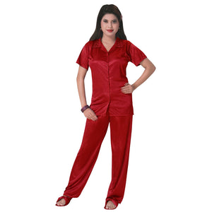 Color: Red 3 Pcs Satin Pyjama Set with Bedroom Slippers Size: One Size