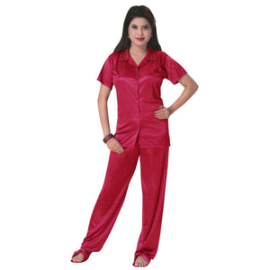 Color: Cerise 3 Pcs Satin Pyjama Set with Bedroom Slippers Size: One Size