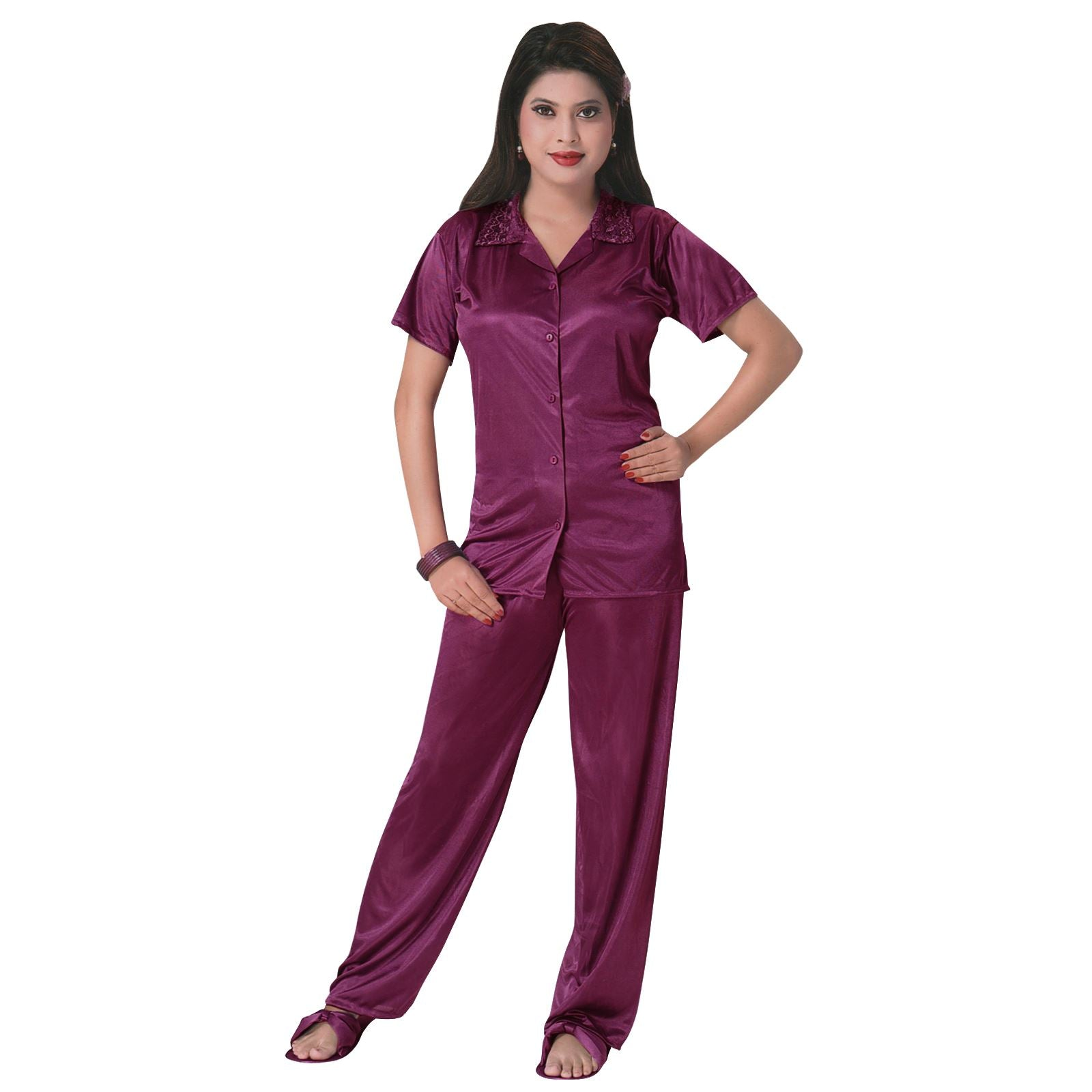 Color: Wine 3 Pcs Satin Pyjama Set with Bedroom Slippers Size: One Size