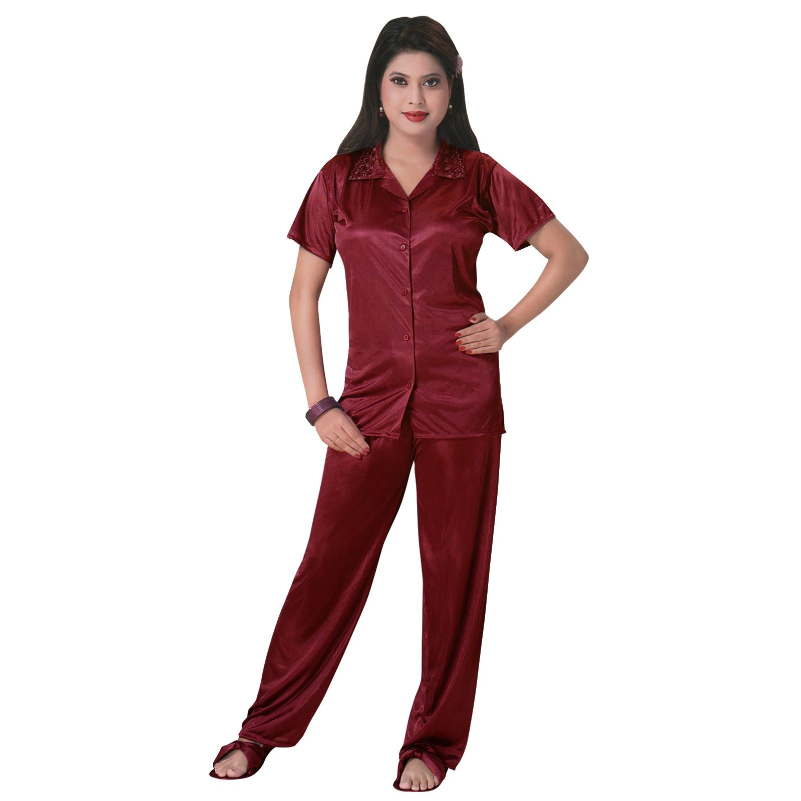 Color: Deep Red 3 Pcs Satin Pyjama Set with Bedroom Slippers Size: One Size