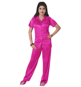 Color: Rose Pink 3 Pcs Satin Pyjama Set with Bedroom Slippers Size: One Size