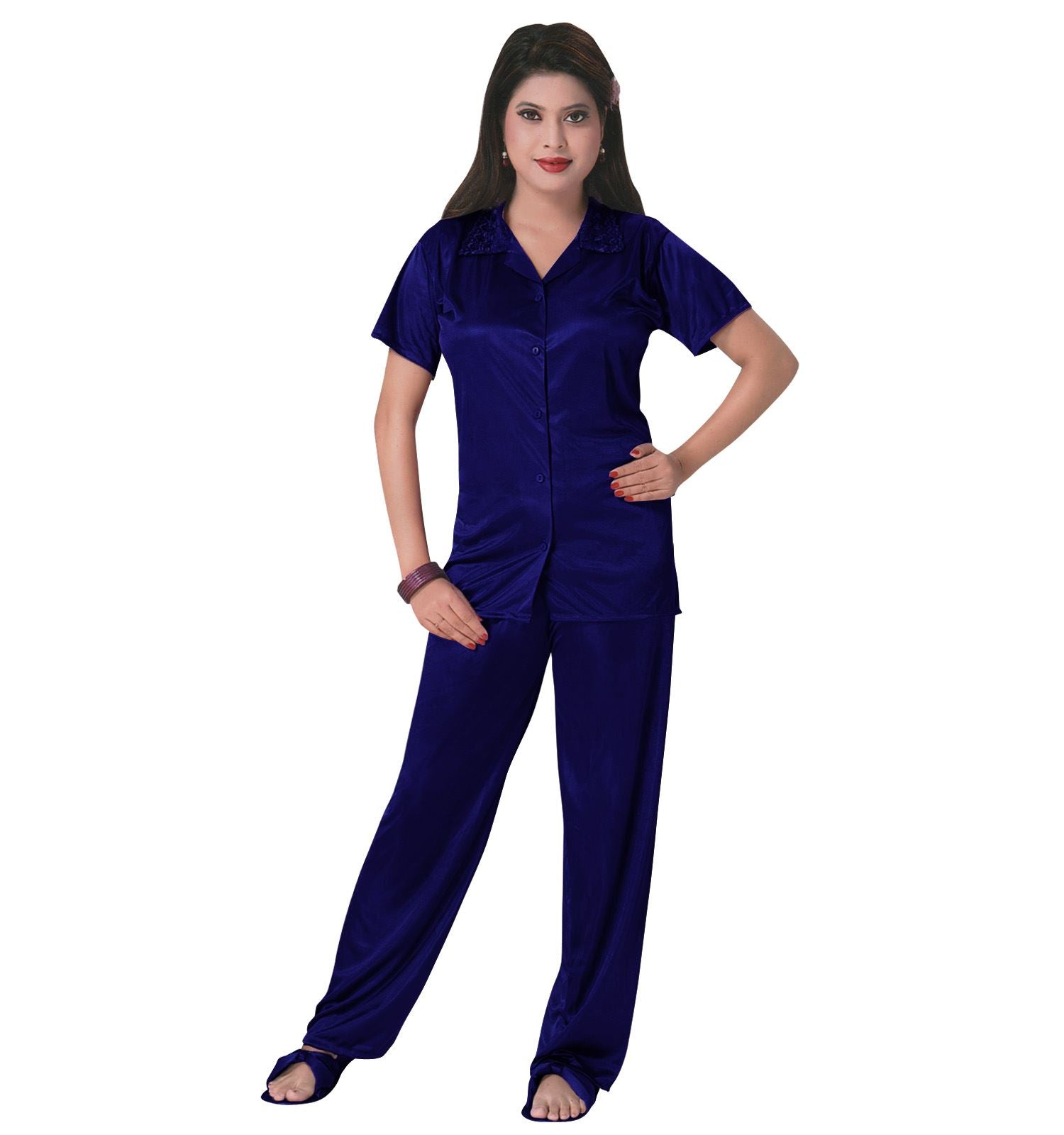 Color: Navy 3 Pcs Satin Pyjama Set with Bedroom Slippers Size: One Size