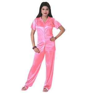 Color: Baby Pink 3 Pcs Satin Pyjama Set with Bedroom Slippers Size: One Size